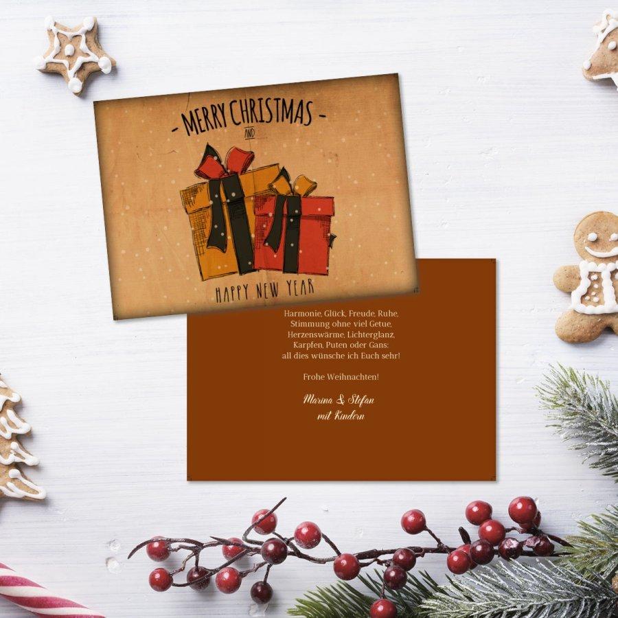Bescherung weihnachtskarte a6 querformat
