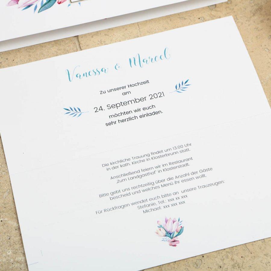Blumengold | Einladung Klappkarte Hochformat