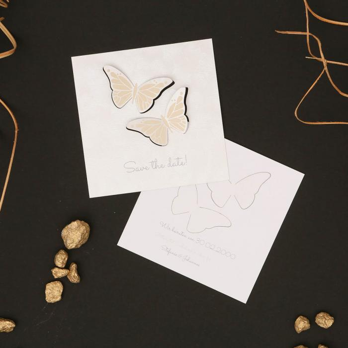 Butterfly Loves | Save the Date - Postkarte quadratisch klein