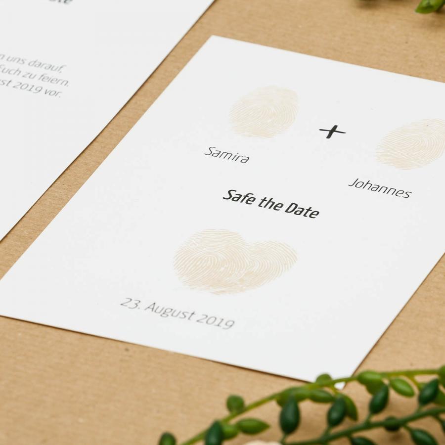 Fingerprint save the date karte