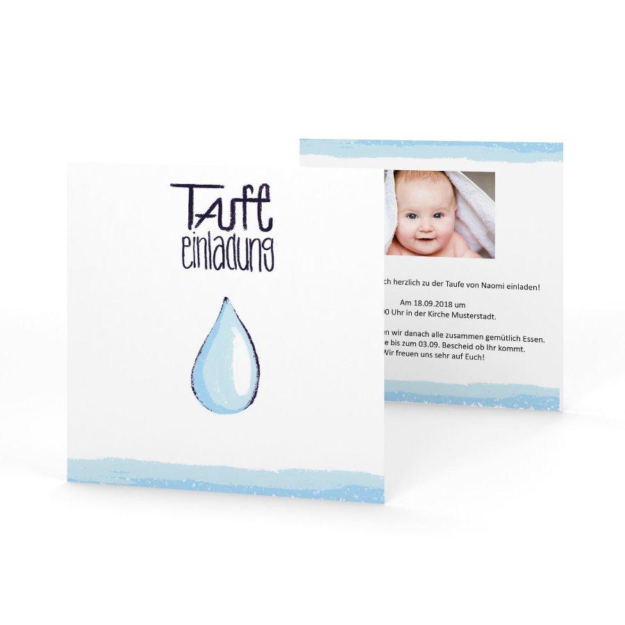 Wassertropfen Einladung Zur Taufe Quadratisch Klein
