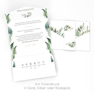 Elegant Adoro | Einladung Pocketfold Bedruckt