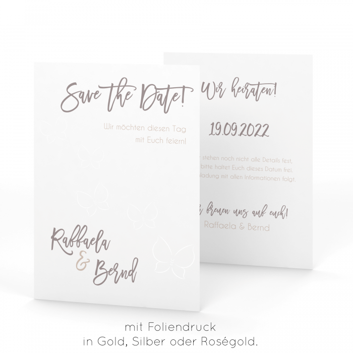 Butterfly Loves | Save the Date - Postkarte DinA6 Hochformat