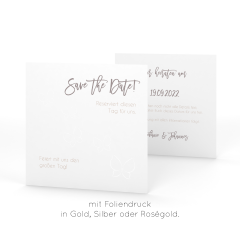 Butterfly Loves | Save the Date - Postkarte quadratisch