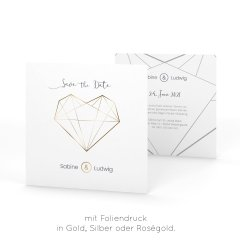 Diamant | Save the Date - Postkarte quadratisch