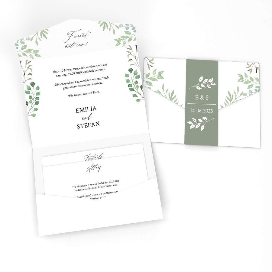 c132cd223c846 Leaves Einladung Pocketfold bedruckt