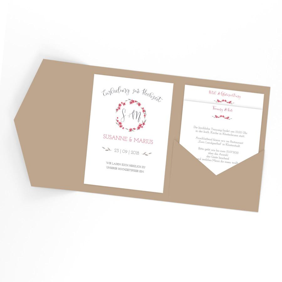Einladung Hochzeit Foto | Mohn Einladung Hochzeit Pocketfold