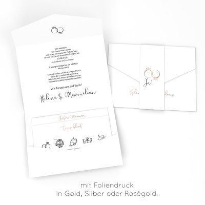 Rings of Love | Einladung Pocketfold bedruckt