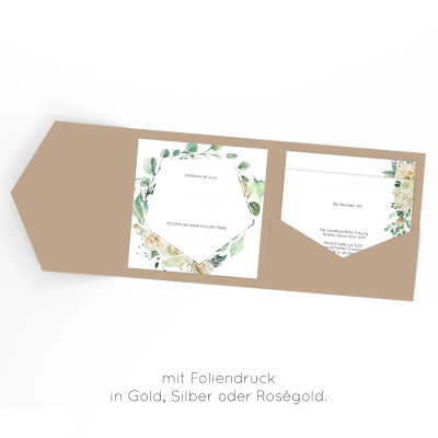 Rose Bianco | Einladung Pocketfold