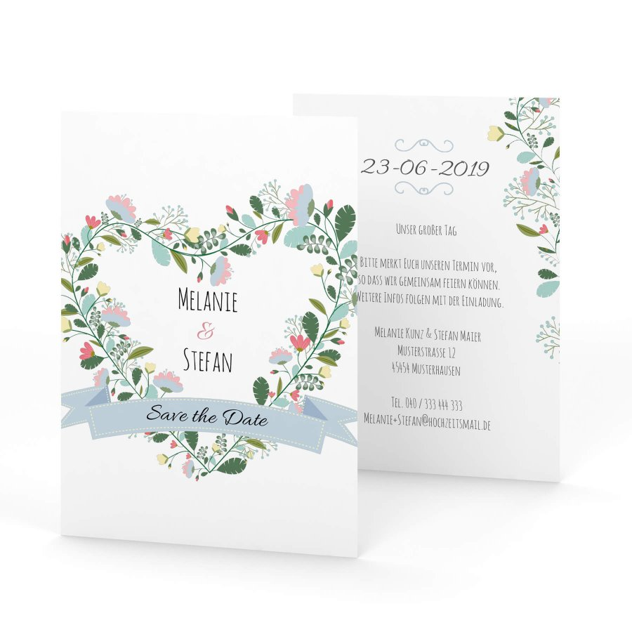 Save The Date Karte.Vintage Flower Save The Date Karte A6
