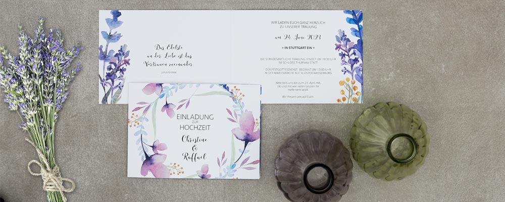 Lust Auf Lavendel Hochzeitspapeterie Mit Handgemalten Blumen In